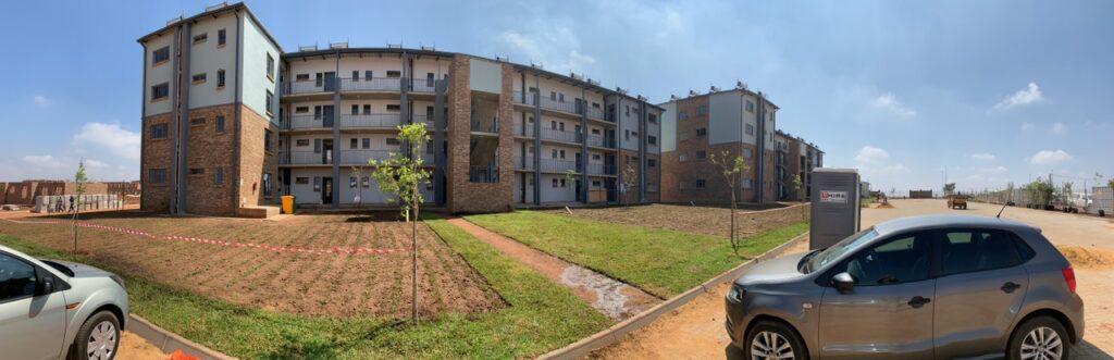 Panoramaansicht der Bauarbeiten in Randfontein